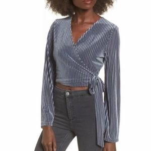 JOA Gary Velvet Striped Wrap Tie Waist Blouse Top